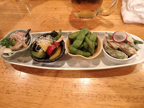 24おまかせ前菜4種盛りレンコンとオクラのごま酢和えだだ茶豆ササミと生くらげの中華和え鯨さえずりぽん酢