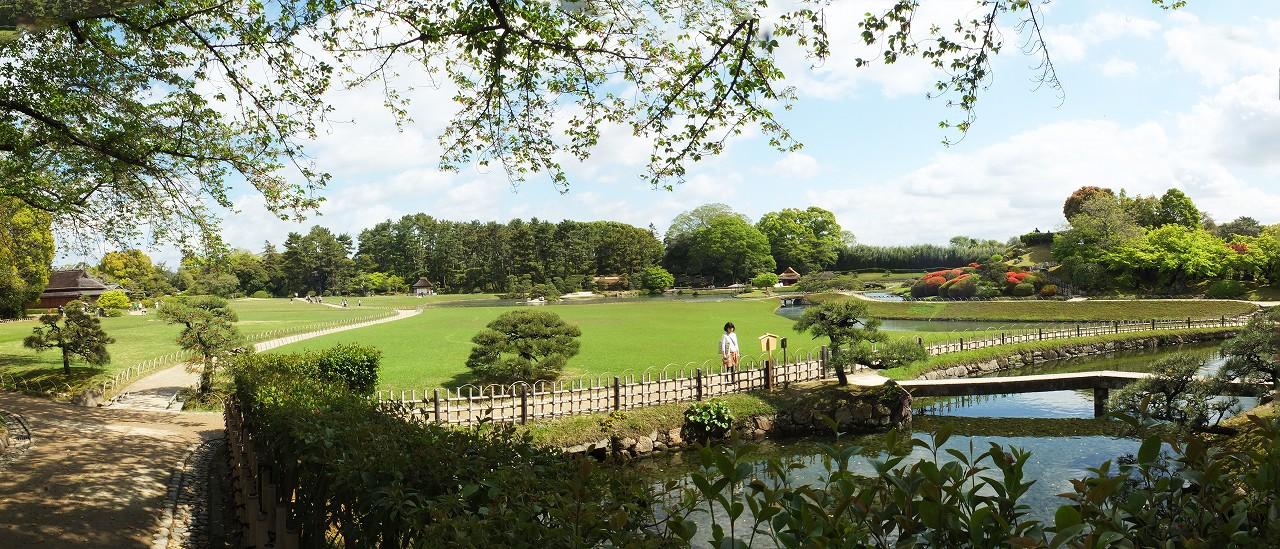 s-20160417 後楽園今日の南門を入って直ぐの場所から眺めた園内ワイド風景 (1)