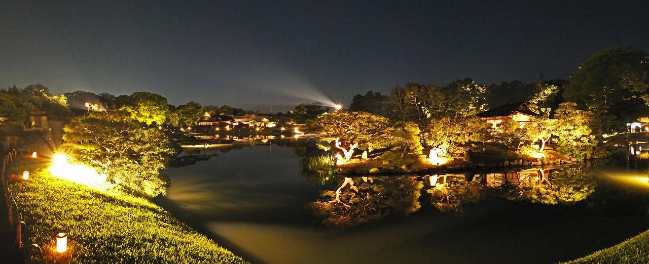 s-20160430 後楽園春の幻想庭園今日の沢の池の中島の様子を眺めたワイド風景 (1)