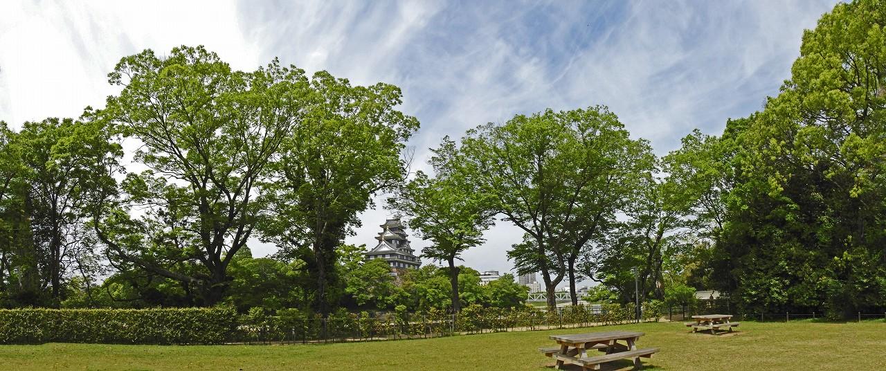 s-20160508 後楽園今日の園内東芝生広場から眺める岡山城ワイド風景 (1)