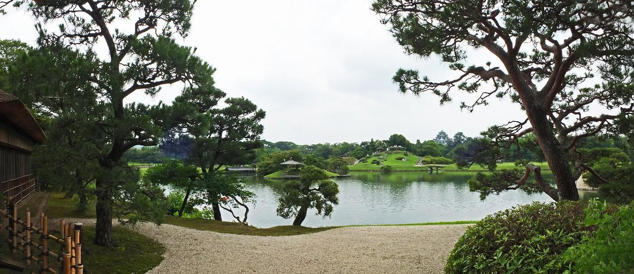 s-20160617 後楽園今日の園内観光定番位置からの眺めワイド風景 (1)