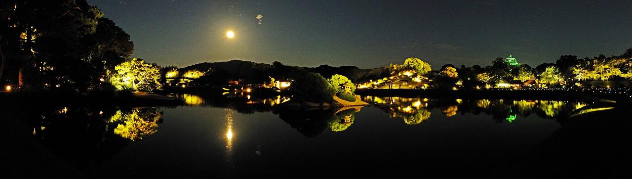 s-20160818 後楽園夏の幻想庭園満月の夜景ワイド風景 (1)
