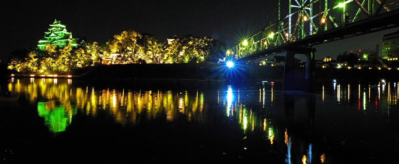 s-20160820 夏の烏城灯源郷水辺の回廊ワイド風景 (1)