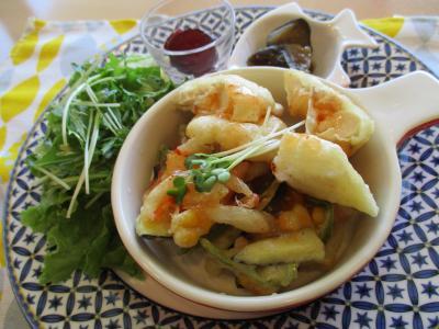 鶏天と彩り野菜のかき揚げ