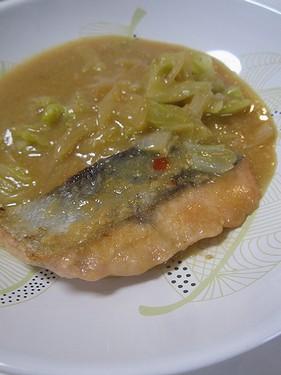 20160923 (2)秋鮭の石狩焼き(なすび亭レシピ)