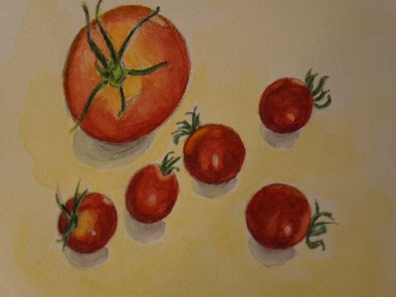 トマトの水彩画