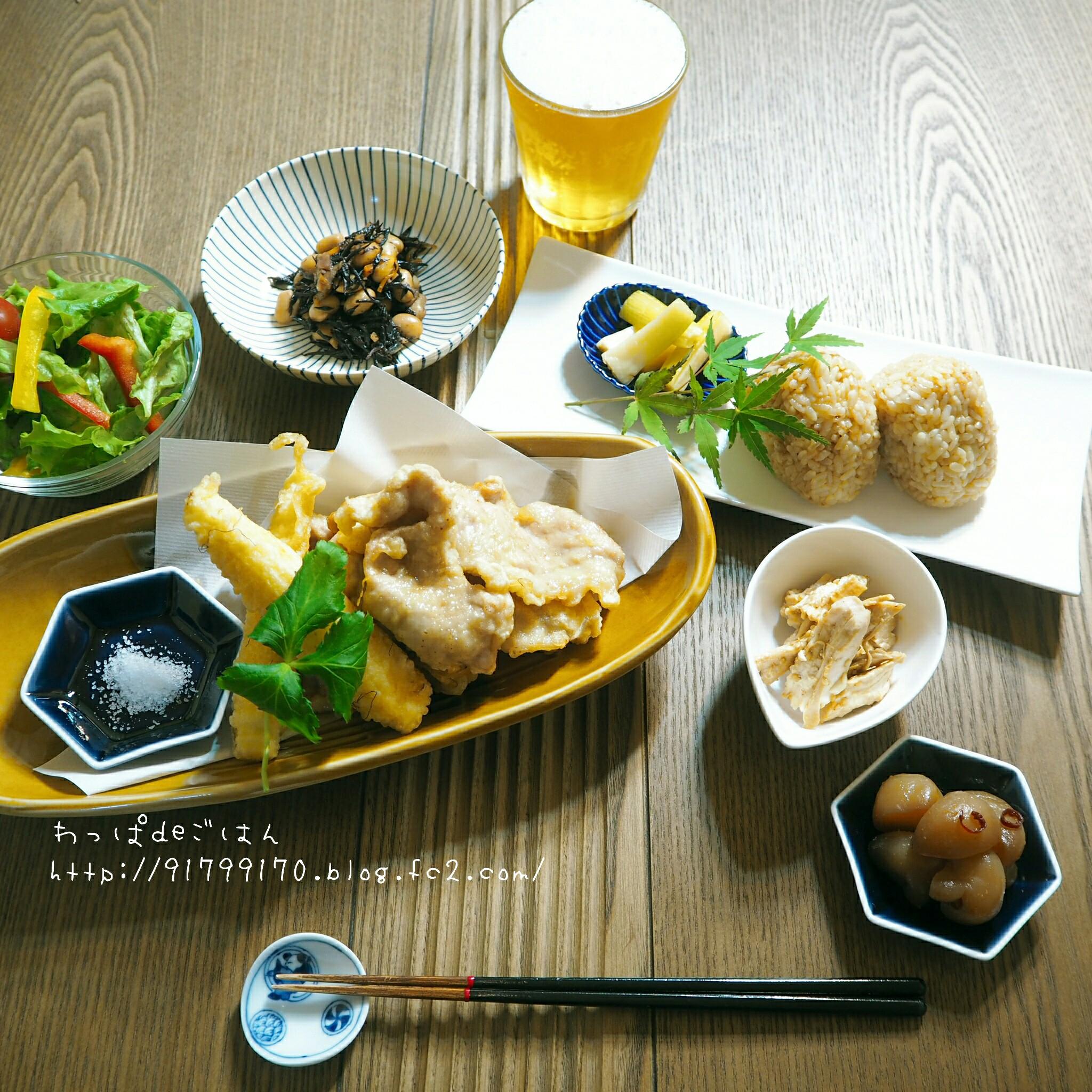 豚肉の天ぷらの晩ごはん