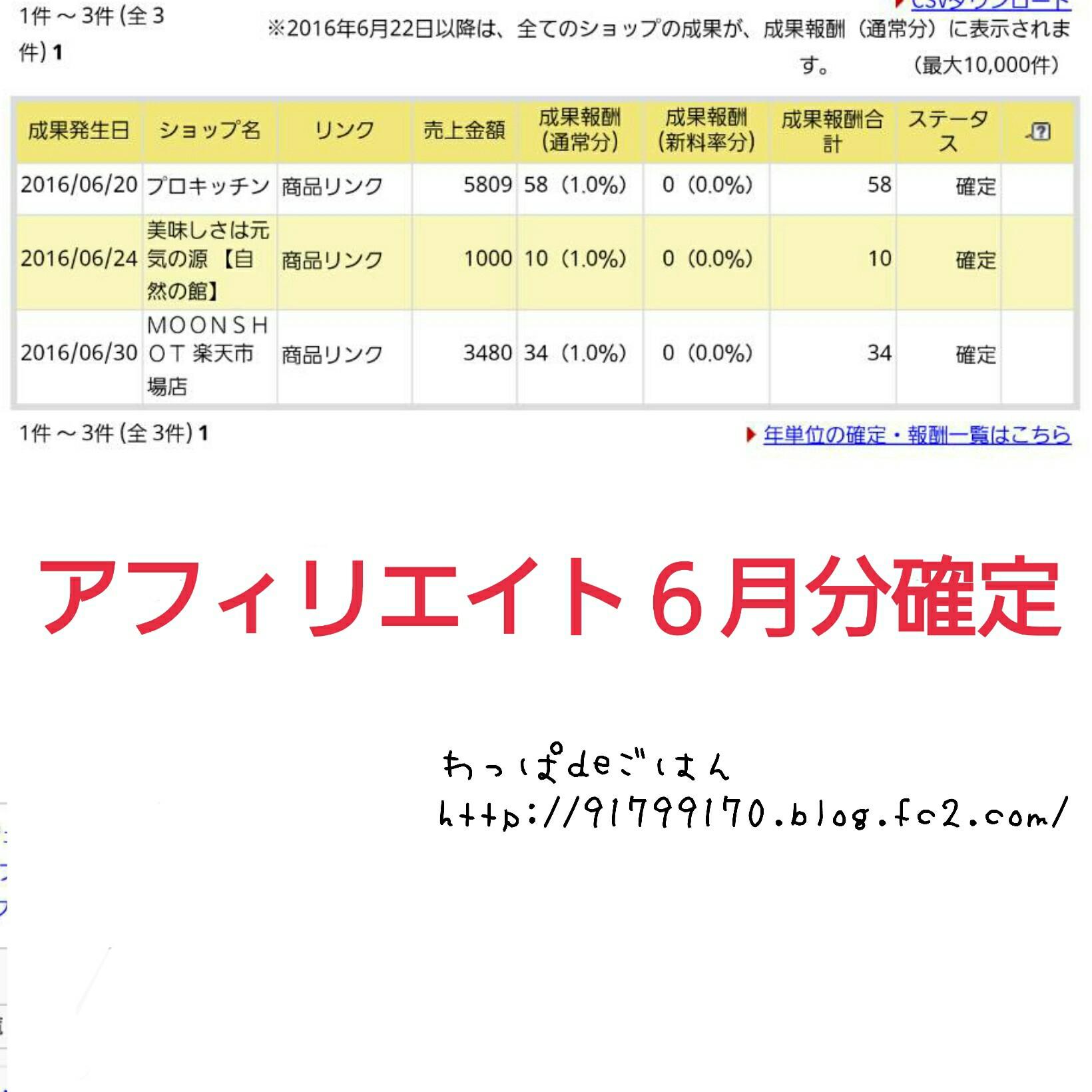 6月分のアフィリエイト収入確定金額