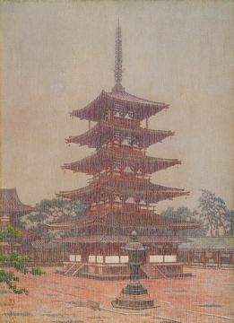 雨の法隆寺