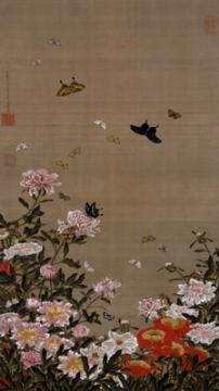 若冲、芍薬と蝶