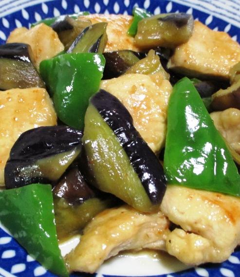 ナスと鶏むね肉のピリ辛一味炒め 拡大