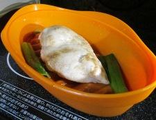レンジ蒸し鶏の梅しそポン酢和え 調理②