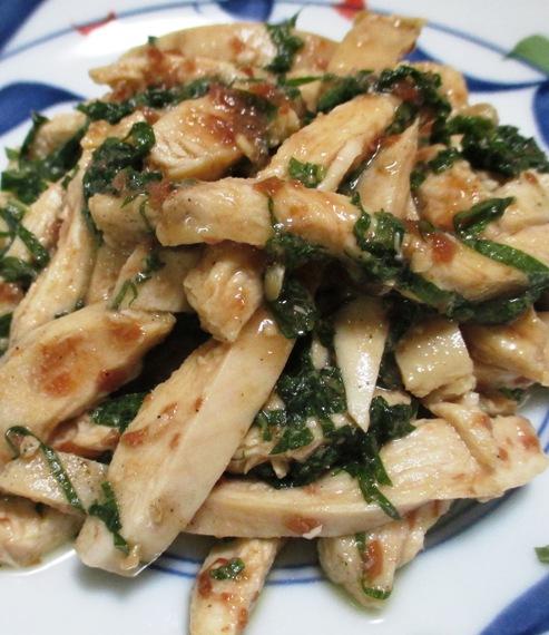 レンジ蒸し鶏の梅しそポン酢和え 拡大