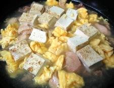 焼き鳥缶と焼き豆腐のうま塩親子煮 調理⑥