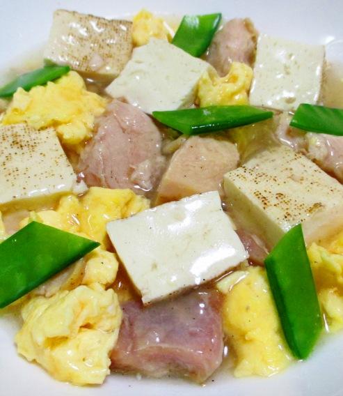 焼き鳥缶と焼き豆腐のうま塩親子煮 大