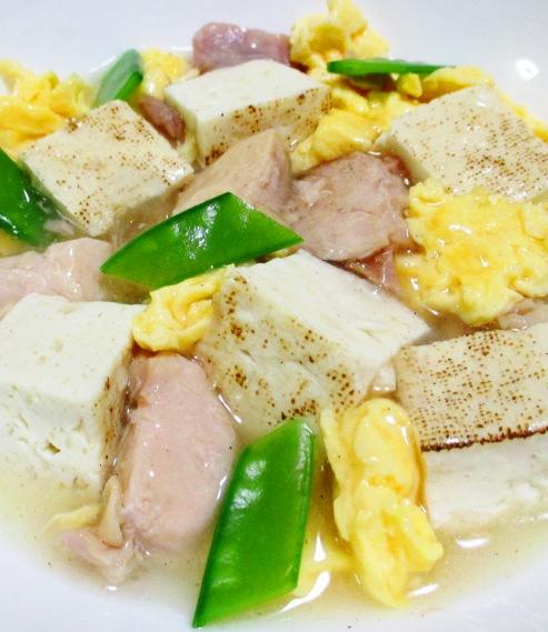 焼き鳥缶と焼き豆腐のうま塩親子煮 拡大
