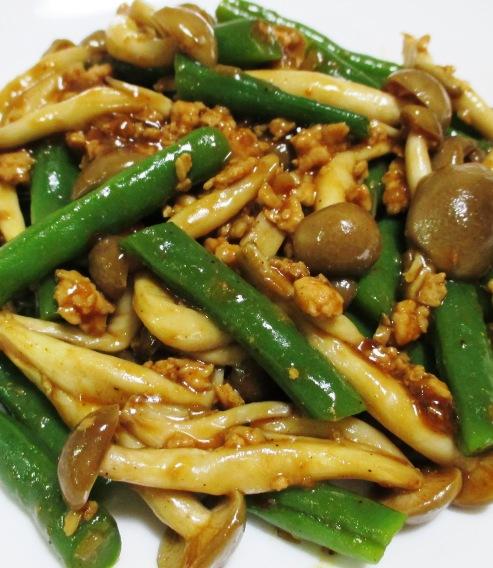 インゲンとしめじの鶏味噌炒め 拡大