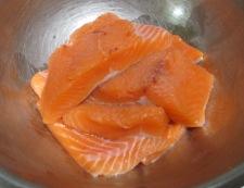 生鮭の竜田揚げ 調理①