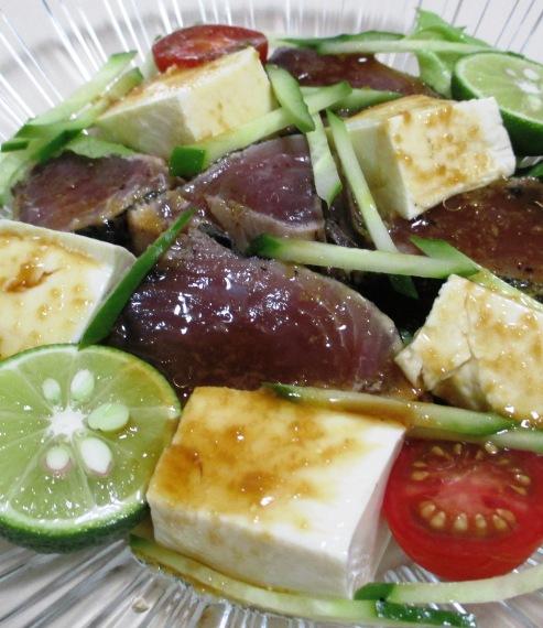 鰹のたたきと豆腐のサラダ B