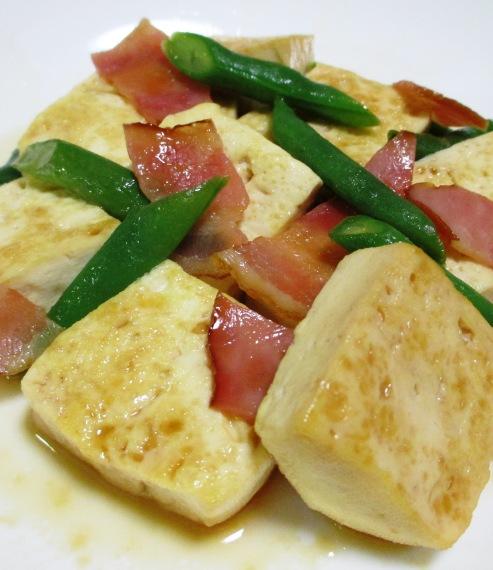 木綿豆腐とベーコンの甘辛炒め 拡大