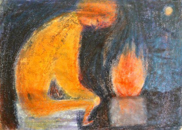 火を焚く絵