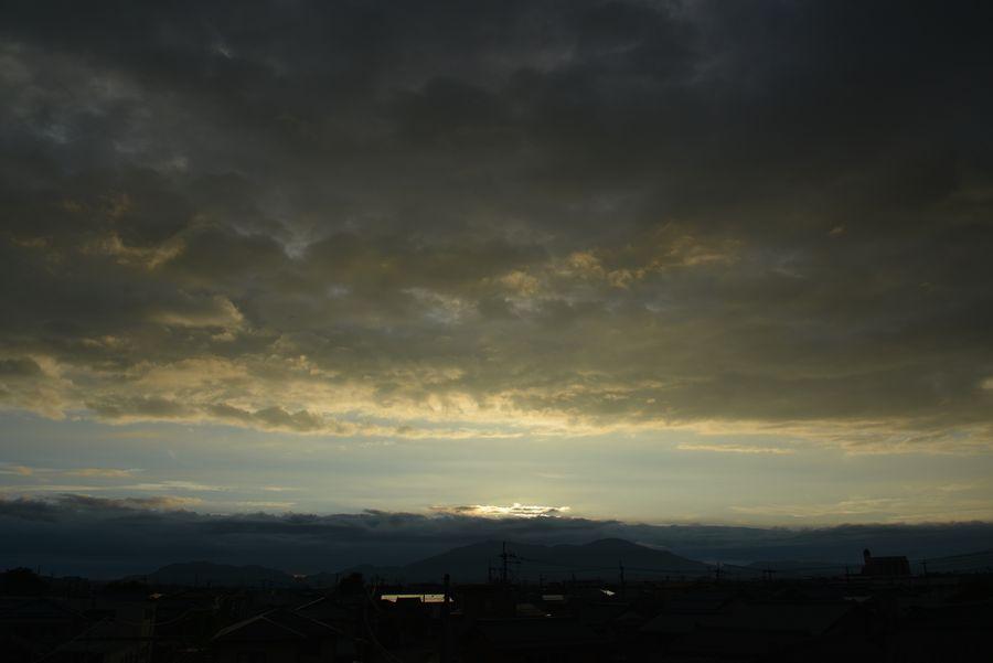 跨線橋からの夕陽-2