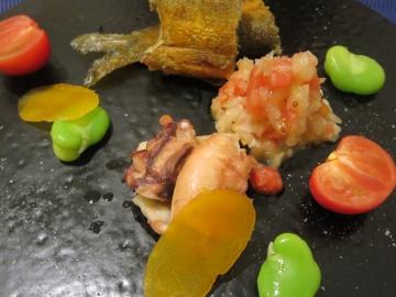 鮎のコンフィ、蒸し蛸、カラスミ、若松無農薬野菜など