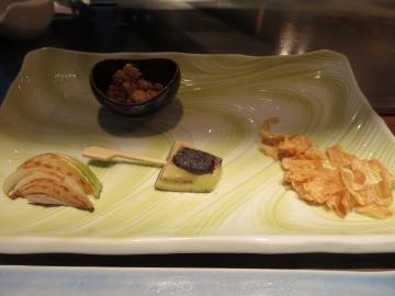 焼野菜、玉葱・茄子田楽・トウモロコシと、ニンニク