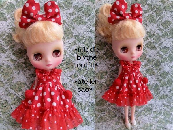 ◆ミディブライス◆赤の水玉ドレス2