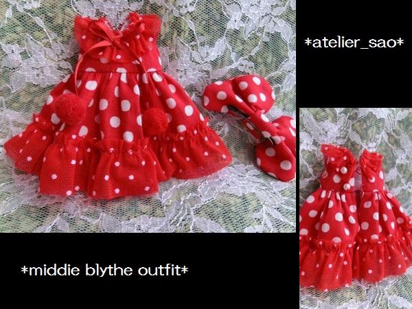 ◆ミディブライス◆赤の水玉ドレス3