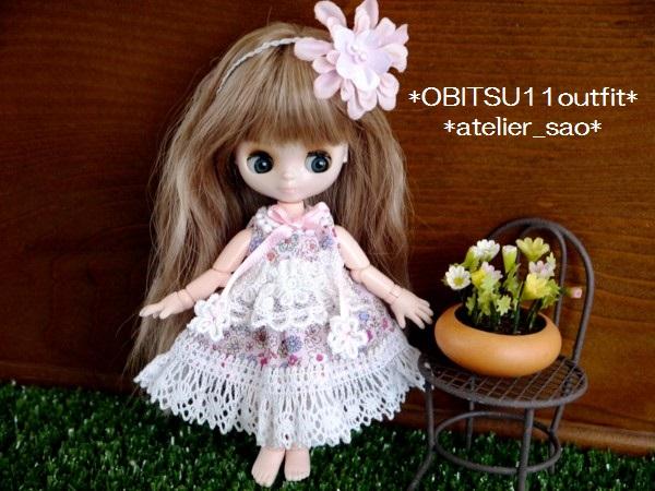 オビツ11◆小花柄ドレス☆ピンク1