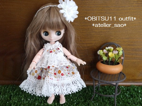 ◆オビツ11◆小花柄ドレス☆ホワイト1