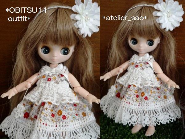◆オビツ11◆小花柄ドレス☆ホワイト2
