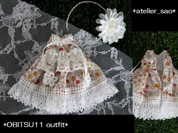 ◆オビツ11◆小花柄ドレス☆ホワイト3
