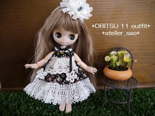 ◆オビツ11◆小花柄ドレス☆黒1