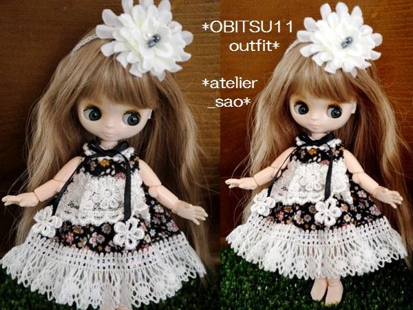 ◆オビツ11◆小花柄ドレス☆黒2