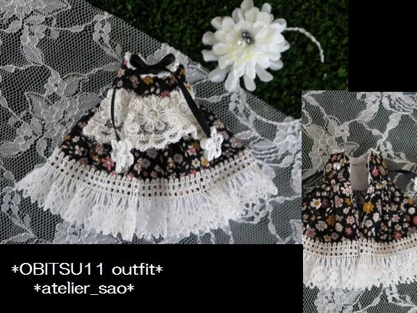 ◆オビツ11◆小花柄ドレス☆黒3
