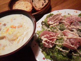 160228食サラダ、クリームシチュー&パン