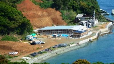 アワビ養殖施設 建設中1