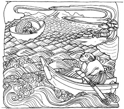 金色姫伝説を表現した側面の彫刻_4