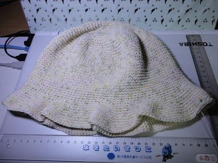 綿の糸で帽子②