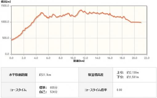 西丹沢から山中湖へ 標高グラフ