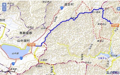 西丹沢から山中湖へ 地図