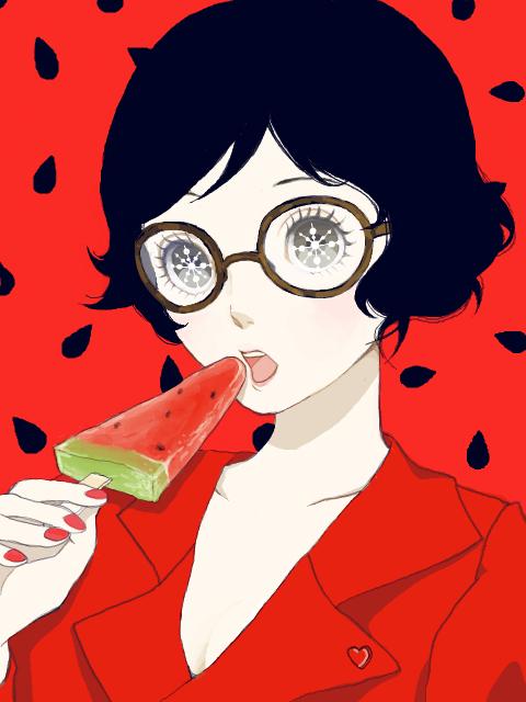 スイカバーを食べるメガネ少女 (ソース不明)