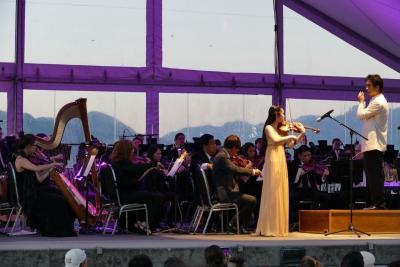 Violin solo at outdoor concert