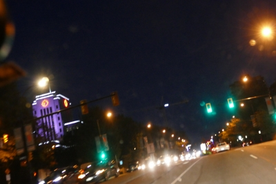 Cambie Street at night