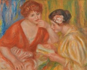 sannou museum LA LECTURE, DEUX FEMMES AUX CORSAGES ROUGE ET ROSE