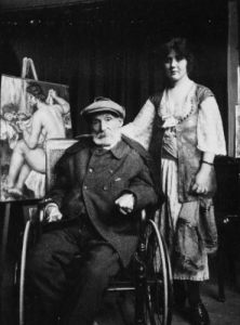 Renoir and Andrée at the artist's studio at Les Collettes in Cagnes, 1918