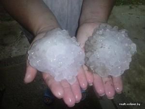 13697084_18382ベラルーシ、Talachyエリア 10センチの巨大雹
