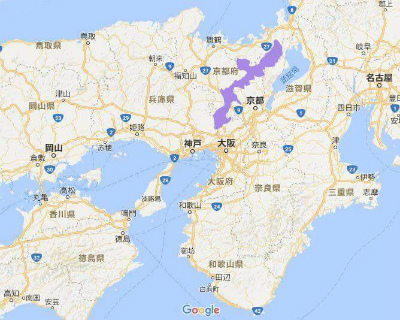 沖縄島(紫色)と琵琶湖を並べた合成地図